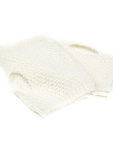 Silk and Cashmere Eldiven Beyaz